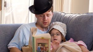 Dave and Lauren reading Farmer Boy